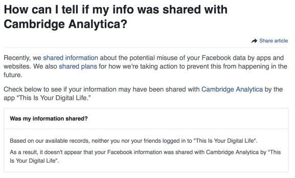 Facebook tells me Facebook didn't share my data